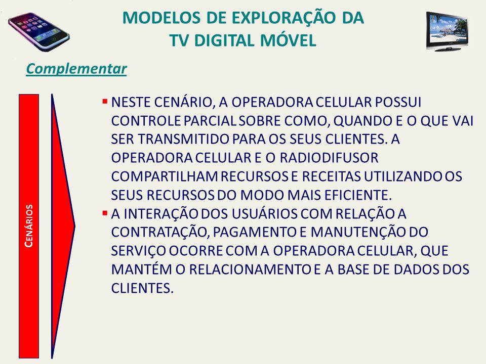 MODELOS DE EXPLORAÇÃO DA TV DIGITAL MÓVEL