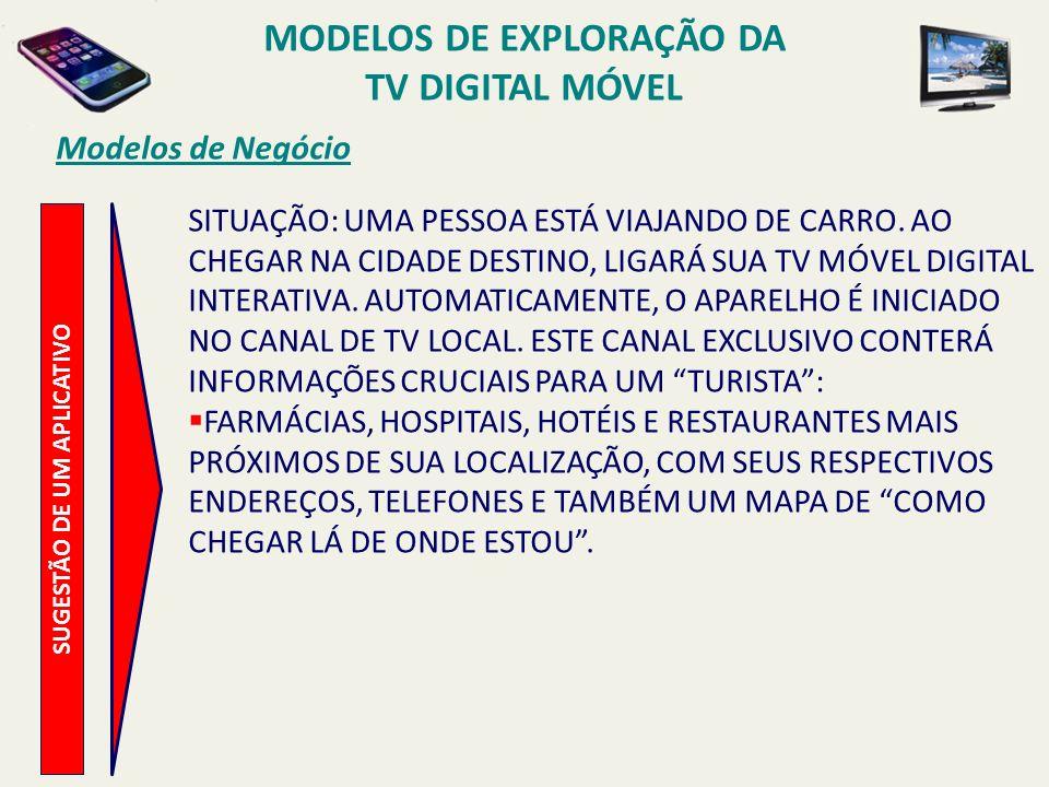 MODELOS DE EXPLORAÇÃO DA TV DIGITAL MÓVEL SUGESTÃO DE UM APLICATIVO