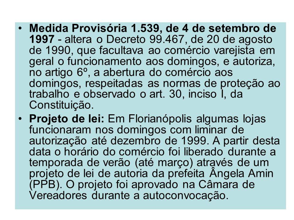 Medida Provisória 1.539, de 4 de setembro de 1997 - altera o Decreto 99.467, de 20 de agosto de 1990, que facultava ao comércio varejista em geral o funcionamento aos domingos, e autoriza, no artigo 6º, a abertura do comércio aos domingos, respeitadas as normas de proteção ao trabalho e observado o art. 30, inciso I, da Constituição.