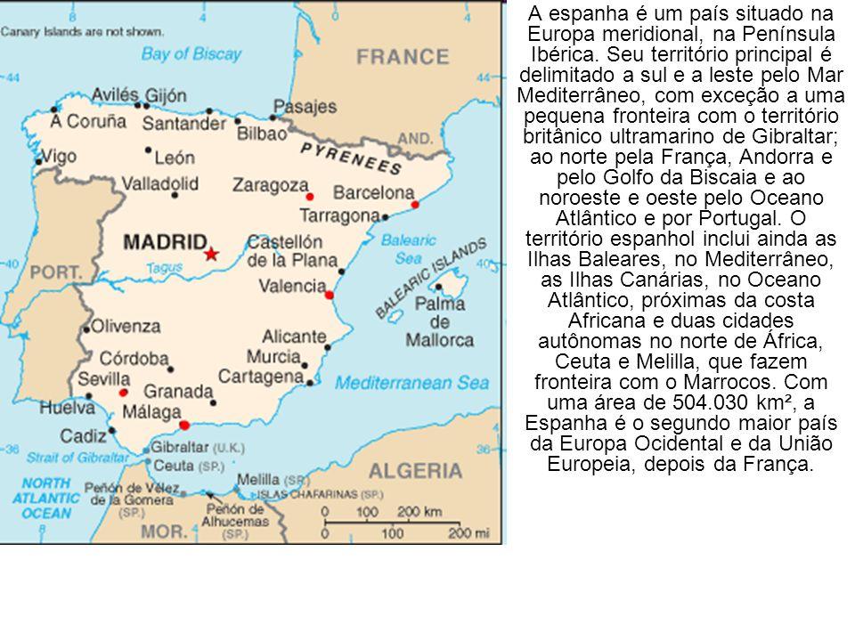 A espanha é um país situado na Europa meridional, na Península Ibérica