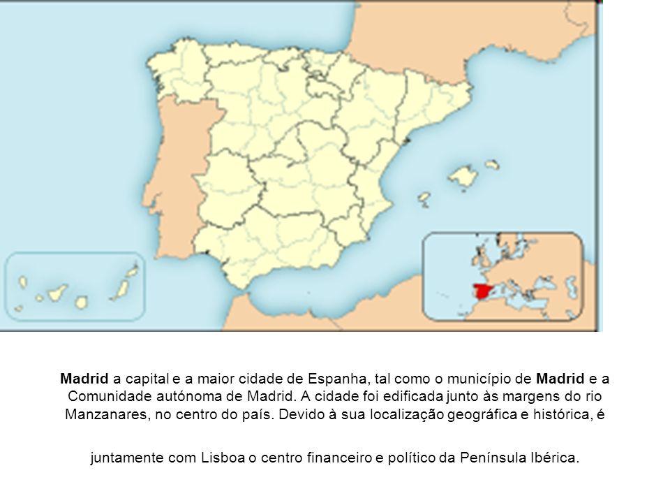 Madrid a capital e a maior cidade de Espanha, tal como o município de Madrid e a Comunidade autónoma de Madrid.