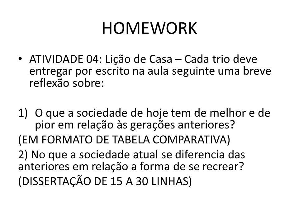 HOMEWORK ATIVIDADE 04: Lição de Casa – Cada trio deve entregar por escrito na aula seguinte uma breve reflexão sobre: