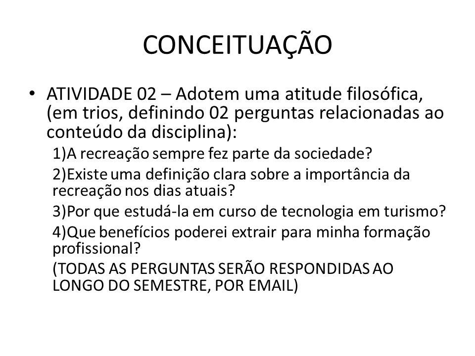 CONCEITUAÇÃO ATIVIDADE 02 – Adotem uma atitude filosófica, (em trios, definindo 02 perguntas relacionadas ao conteúdo da disciplina):