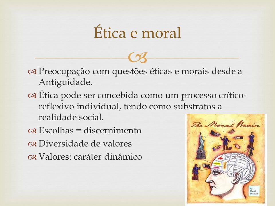 Ética e moral Preocupação com questões éticas e morais desde a Antiguidade.