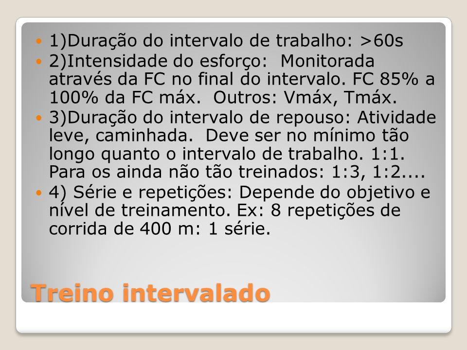 Treino intervalado 1)Duração do intervalo de trabalho: >60s