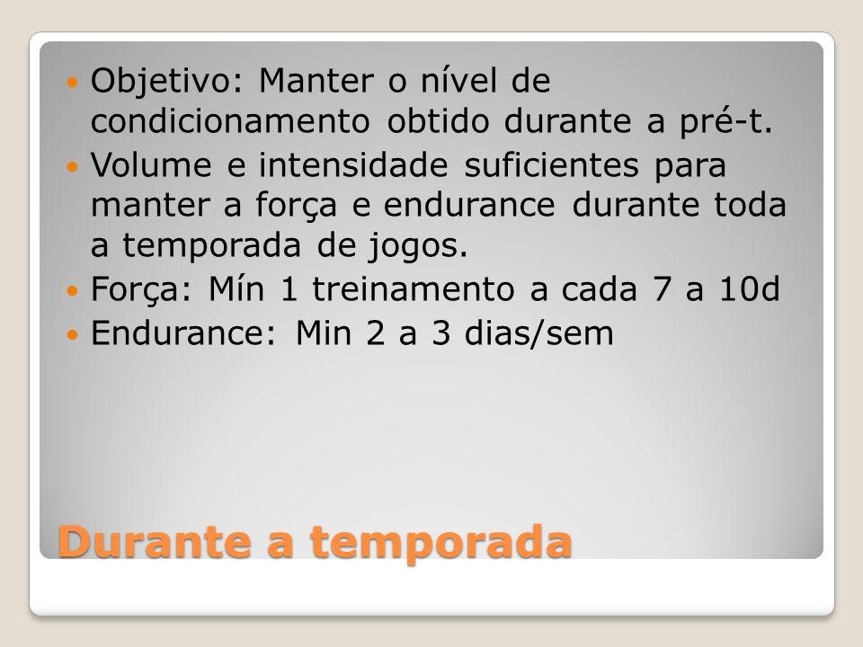 Objetivo: Manter o nível de condicionamento obtido durante a pré-t.