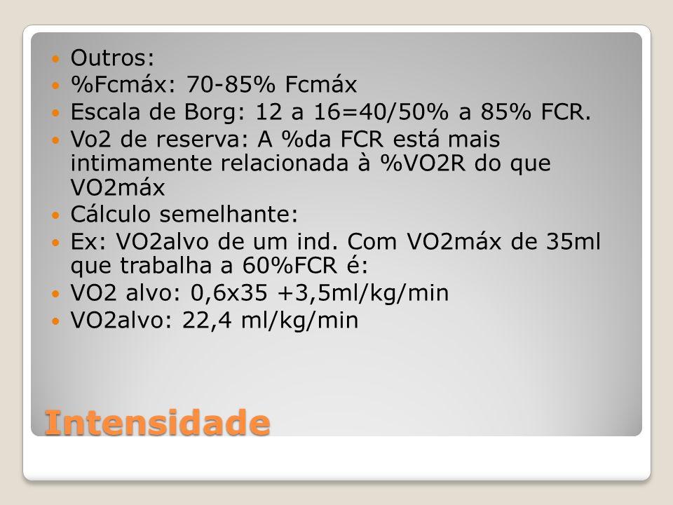 Intensidade Outros: %Fcmáx: 70-85% Fcmáx