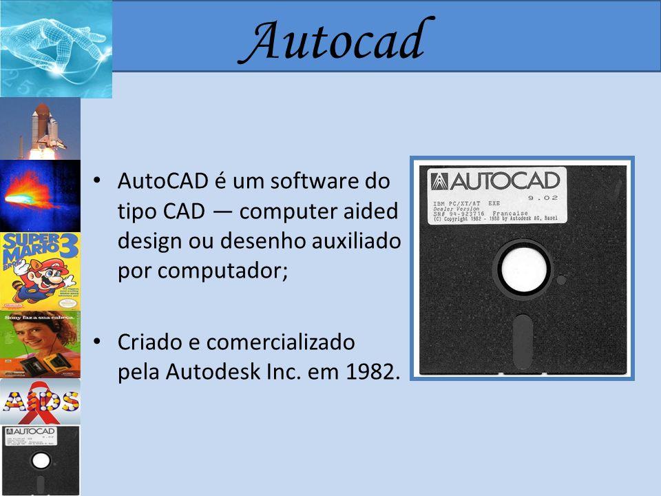 Autocad AutoCAD é um software do tipo CAD — computer aided design ou desenho auxiliado por computador;