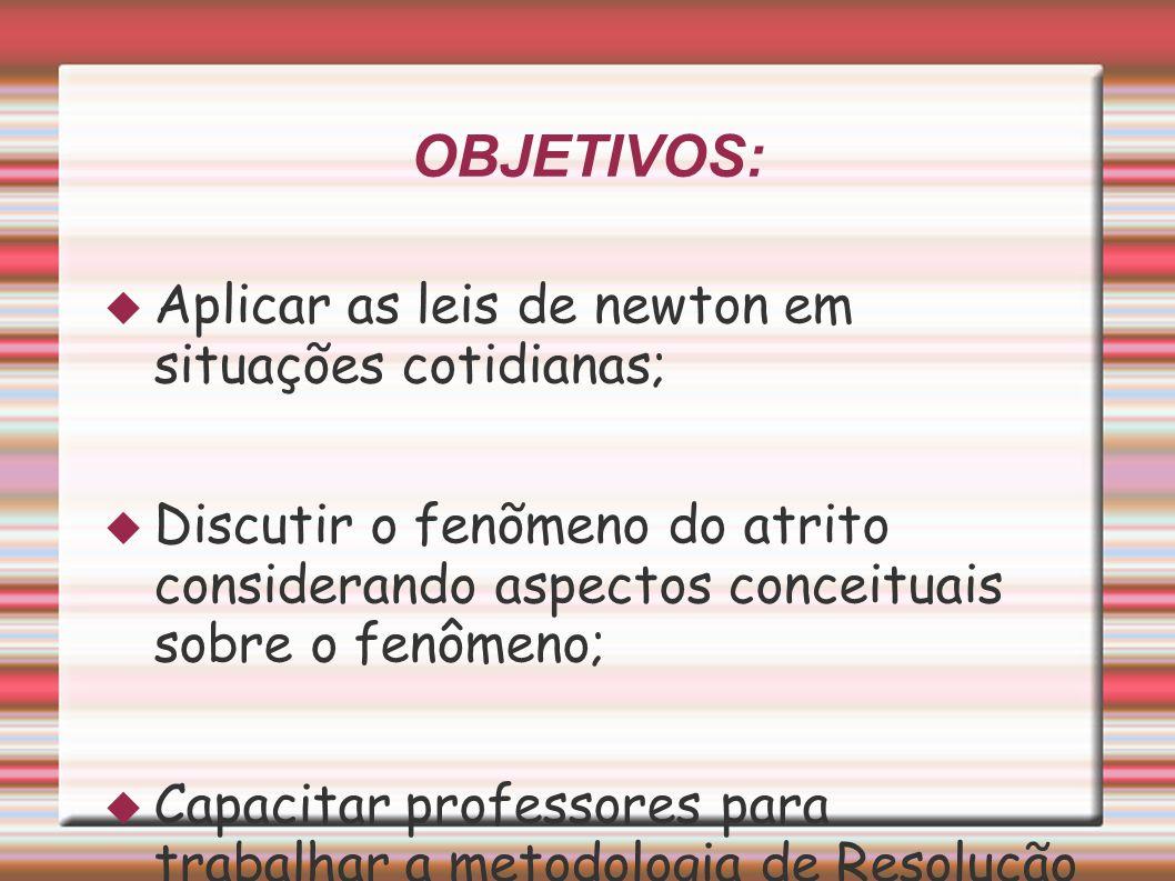 OBJETIVOS: Aplicar as leis de newton em situações cotidianas;