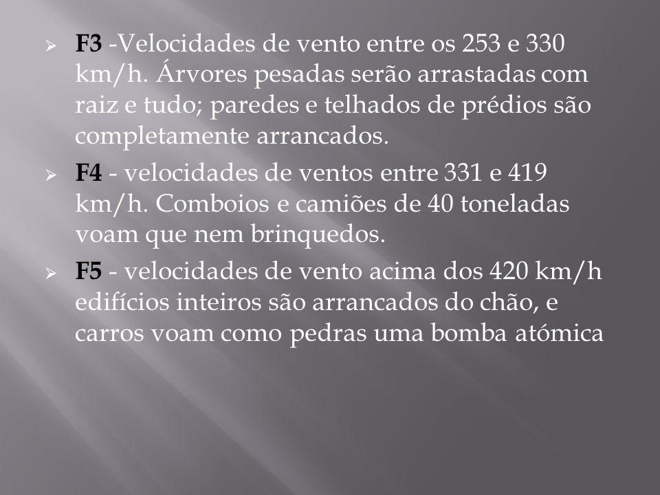 F3 -Velocidades de vento entre os 253 e 330 km/h