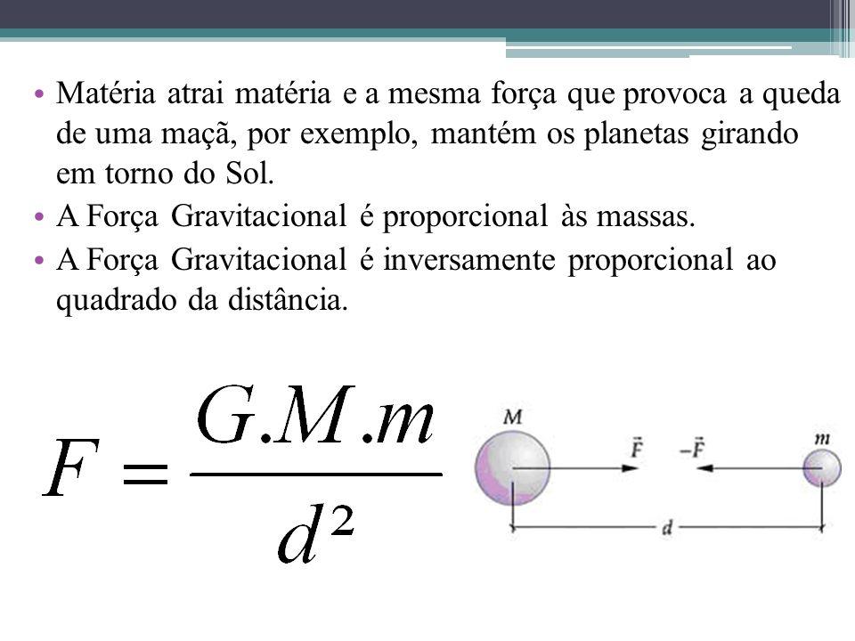 Matéria atrai matéria e a mesma força que provoca a queda de uma maçã, por exemplo, mantém os planetas girando em torno do Sol.