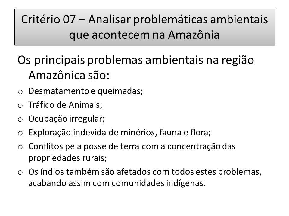 Os principais problemas ambientais na região Amazônica são: