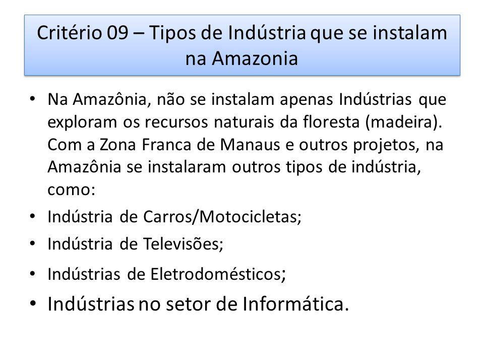 Critério 09 – Tipos de Indústria que se instalam na Amazonia