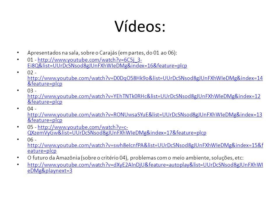 Vídeos: Apresentados na sala, sobre o Carajás (em partes, do 01 ao 06):