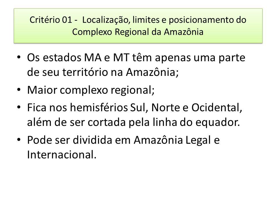 Os estados MA e MT têm apenas uma parte de seu território na Amazônia;