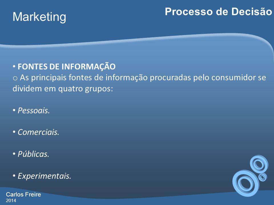 Marketing Processo de Decisão FONTES DE INFORMAÇÃO