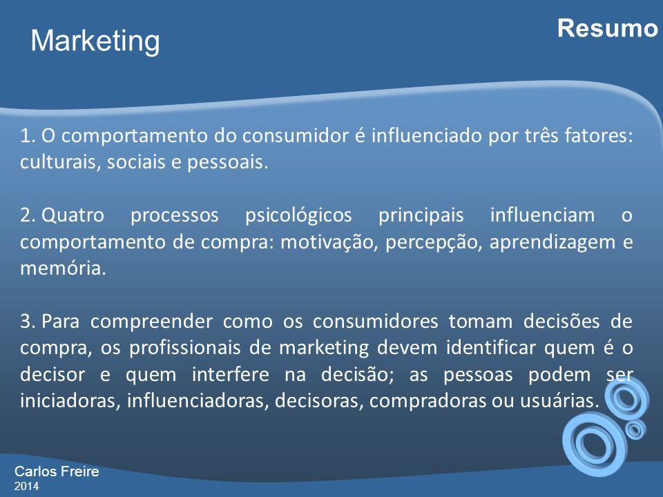 Resumo Marketing. O comportamento do consumidor é influenciado por três fatores: culturais, sociais e pessoais.