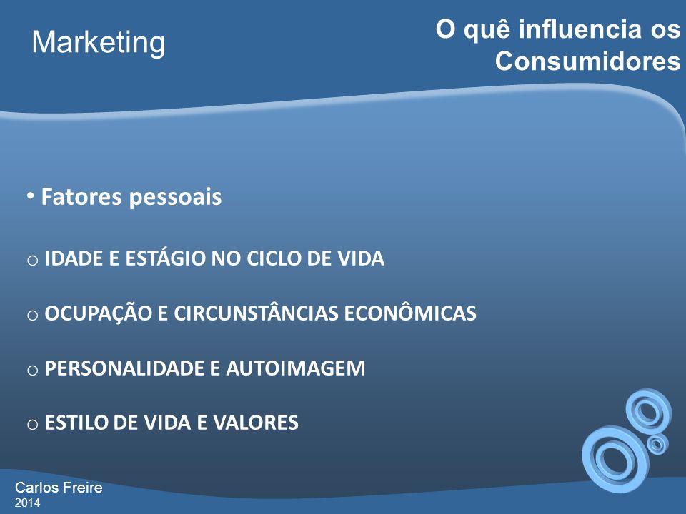 Marketing O quê influencia os Consumidores Fatores pessoais