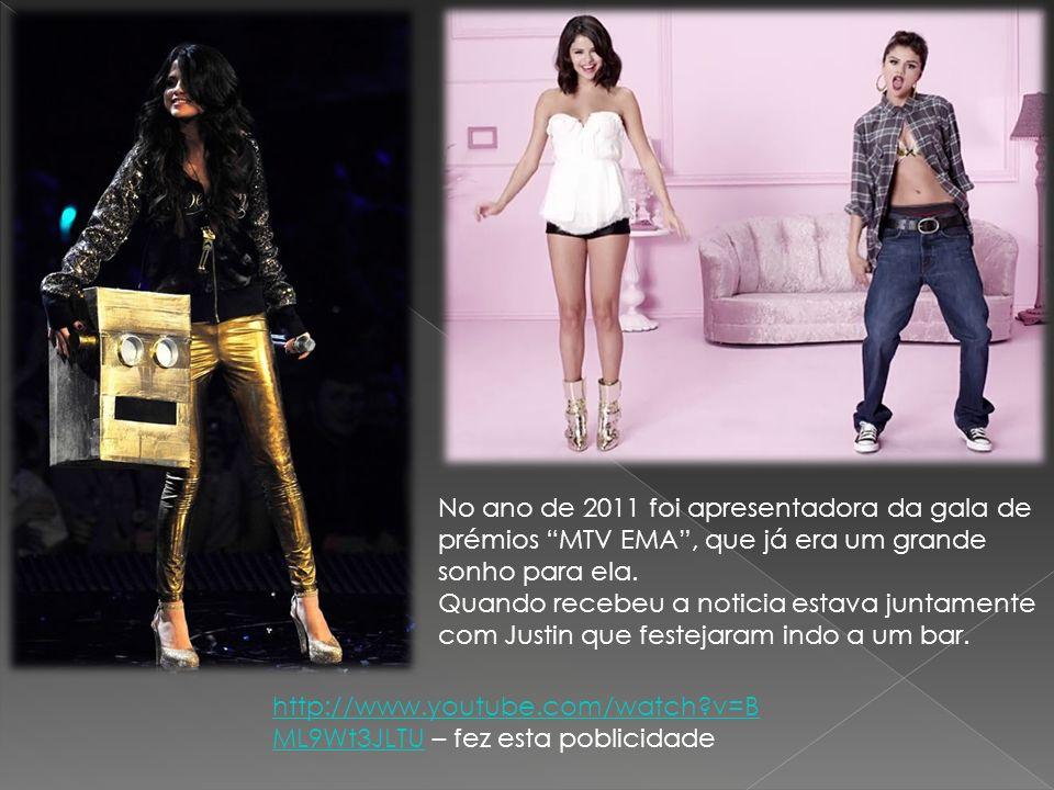 No ano de 2011 foi apresentadora da gala de prémios MTV EMA , que já era um grande sonho para ela.