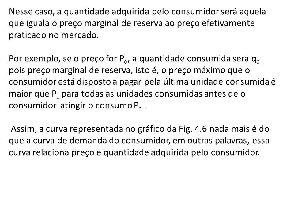 Nesse caso, a quantidade adquirida pelo consumidor será aquela que iguala o preço marginal de reserva ao preço efetivamente praticado no mercado.
