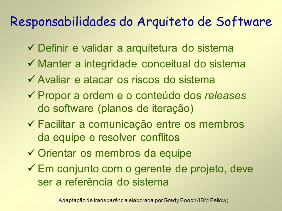 Responsabilidades do Arquiteto de Software