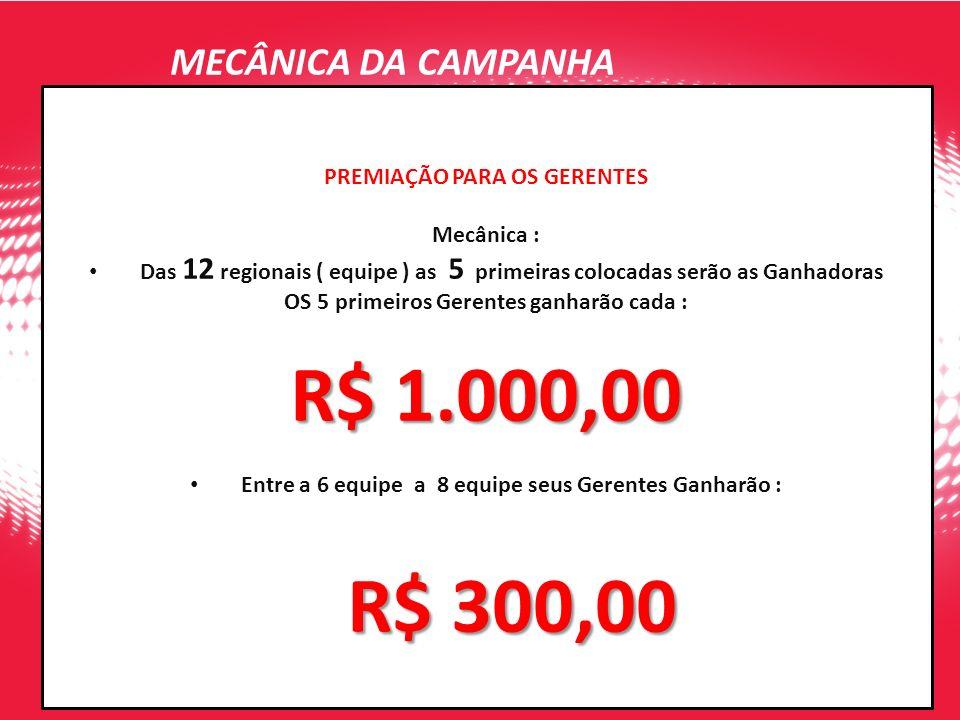 R$ 1.000,00 MECÂNICA DA CAMPANHA PREMIAÇÃO PARA OS GERENTES Mecânica :