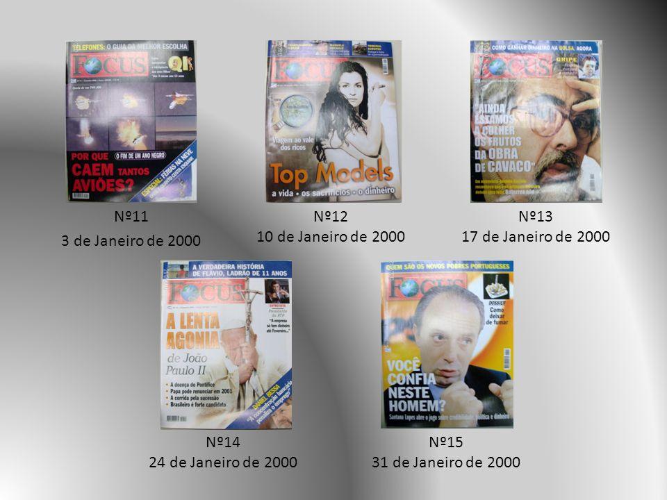 Nº11 3 de Janeiro de 2000 Nº12. 10 de Janeiro de 2000. Nº13. 17 de Janeiro de 2000. Nº14. 24 de Janeiro de 2000.