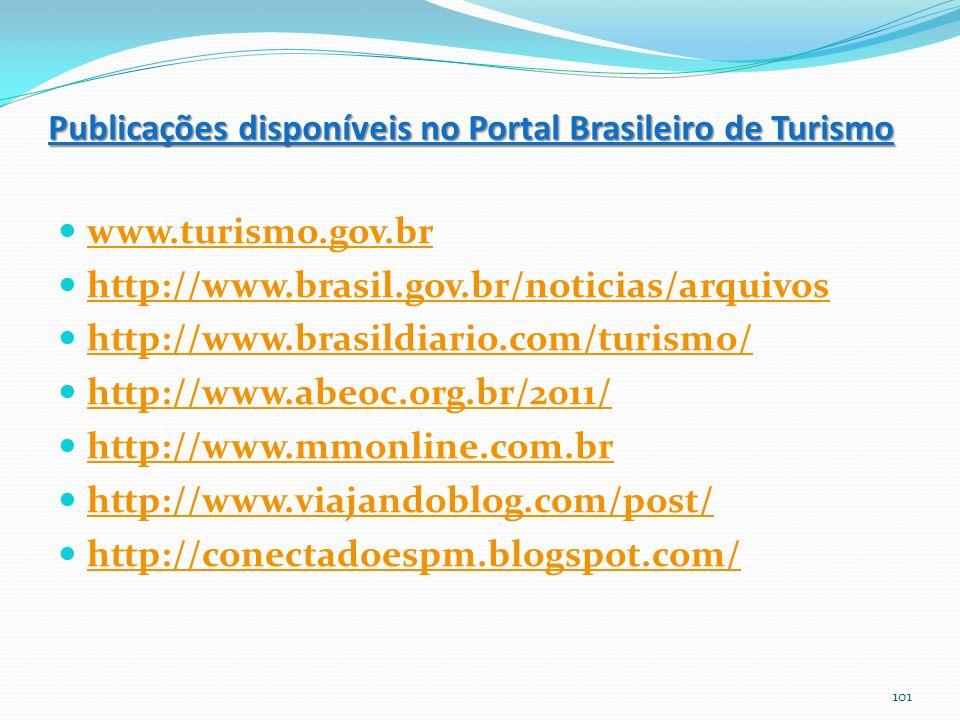 Publicações disponíveis no Portal Brasileiro de Turismo