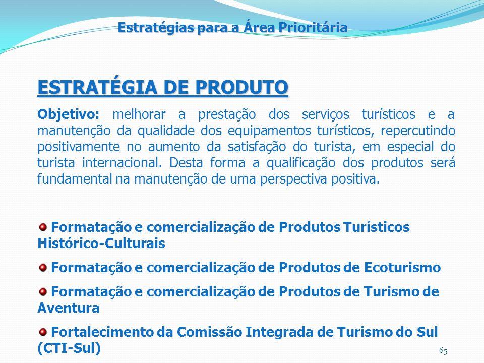 ESTRATÉGIA DE PRODUTO Estratégias para a Área Prioritária
