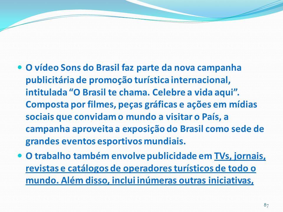 O vídeo Sons do Brasil faz parte da nova campanha publicitária de promoção turística internacional, intitulada O Brasil te chama. Celebre a vida aqui . Composta por filmes, peças gráficas e ações em mídias sociais que convidam o mundo a visitar o País, a campanha aproveita a exposição do Brasil como sede de grandes eventos esportivos mundiais.