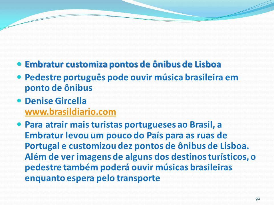 Embratur customiza pontos de ônibus de Lisboa