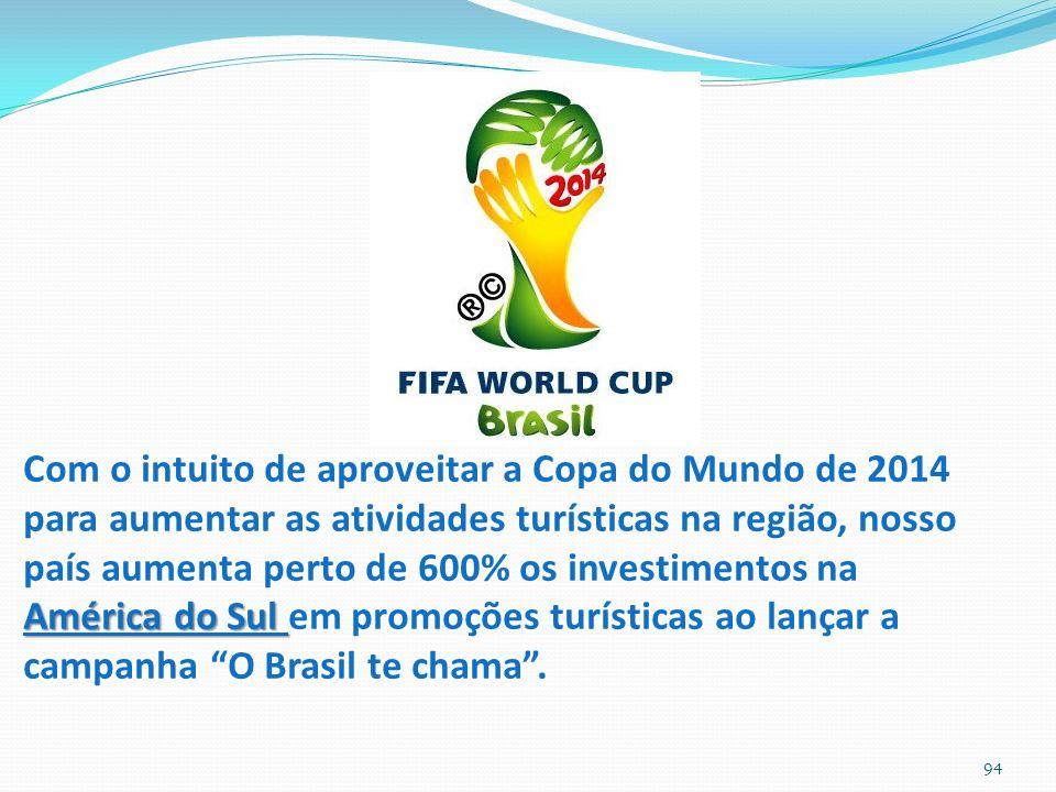 Com o intuito de aproveitar a Copa do Mundo de 2014 para aumentar as atividades turísticas na região, nosso país aumenta perto de 600% os investimentos na América do Sul em promoções turísticas ao lançar a campanha O Brasil te chama .