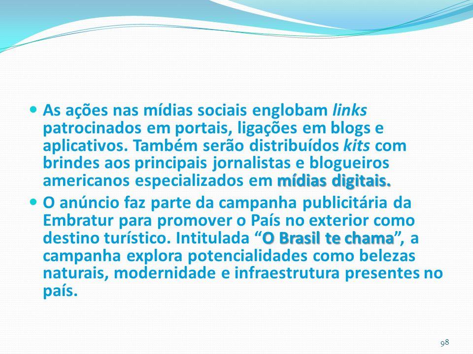 As ações nas mídias sociais englobam links patrocinados em portais, ligações em blogs e aplicativos. Também serão distribuídos kits com brindes aos principais jornalistas e blogueiros americanos especializados em mídias digitais.