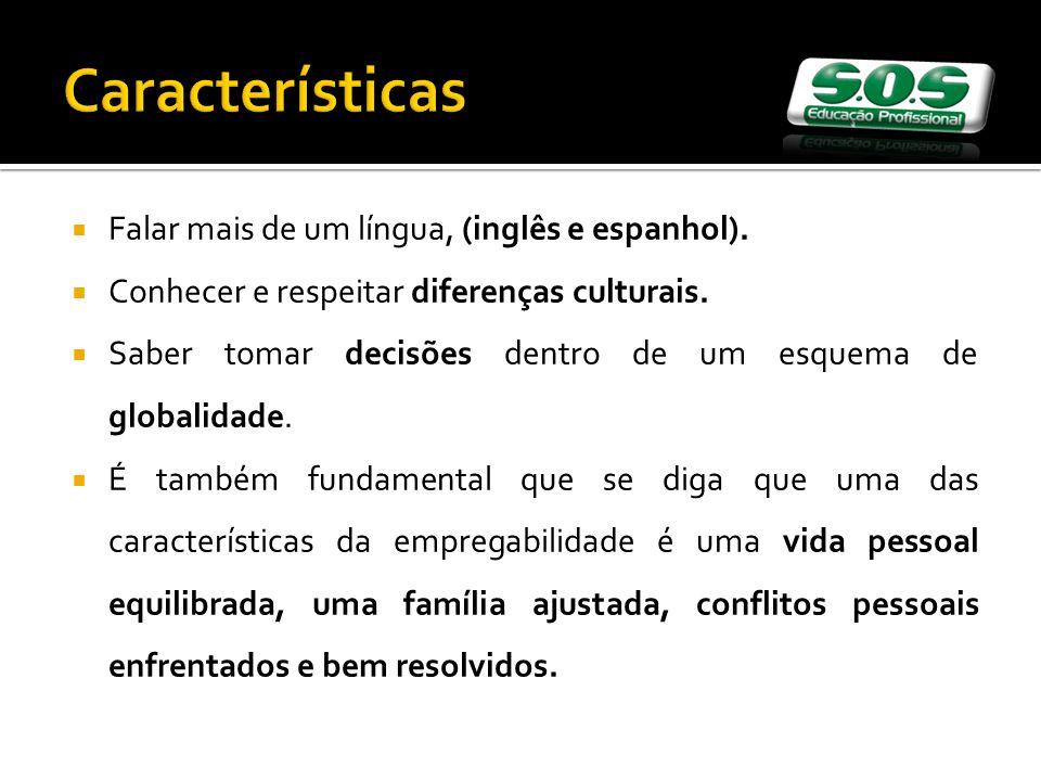 Características Falar mais de um língua, (inglês e espanhol).