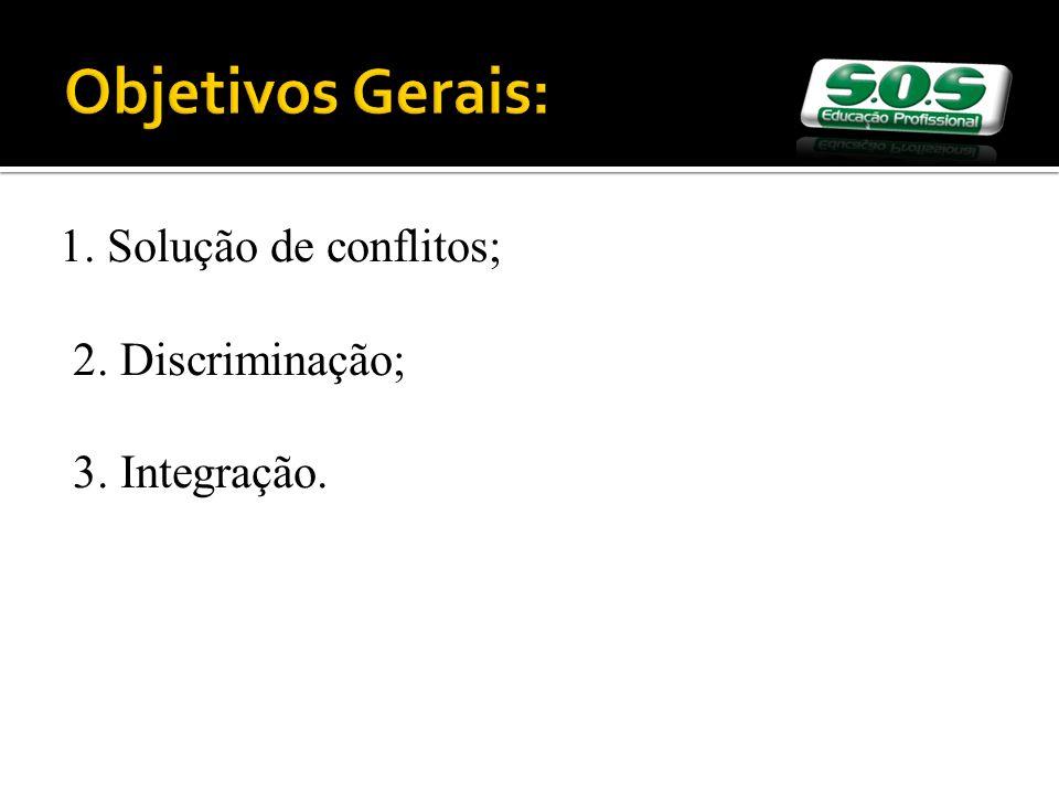 Objetivos Gerais: 1. Solução de conflitos; 2. Discriminação; 3. Integração.