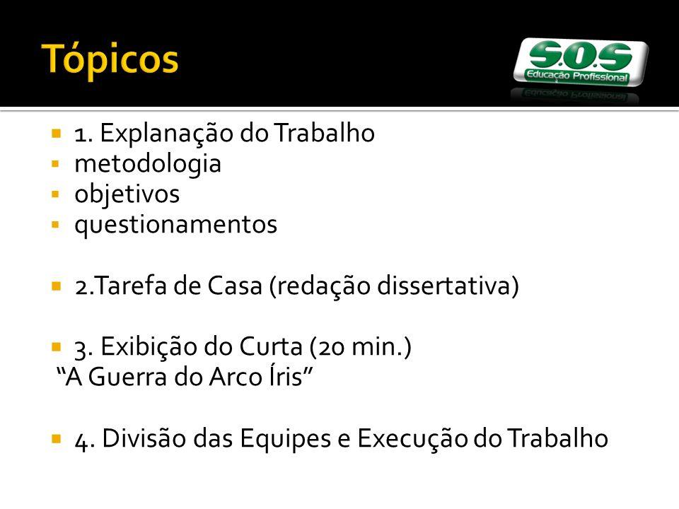 Tópicos 1. Explanação do Trabalho metodologia objetivos