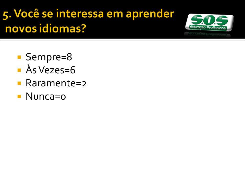 5. Você se interessa em aprender novos idiomas