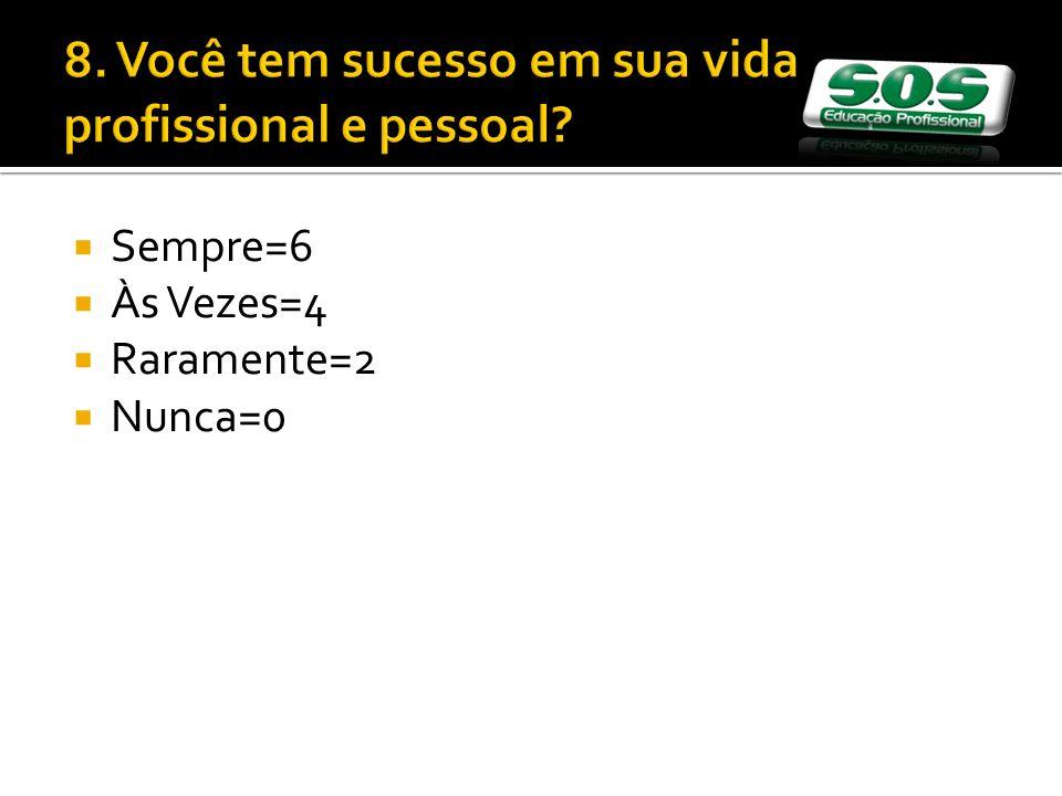 8. Você tem sucesso em sua vida profissional e pessoal