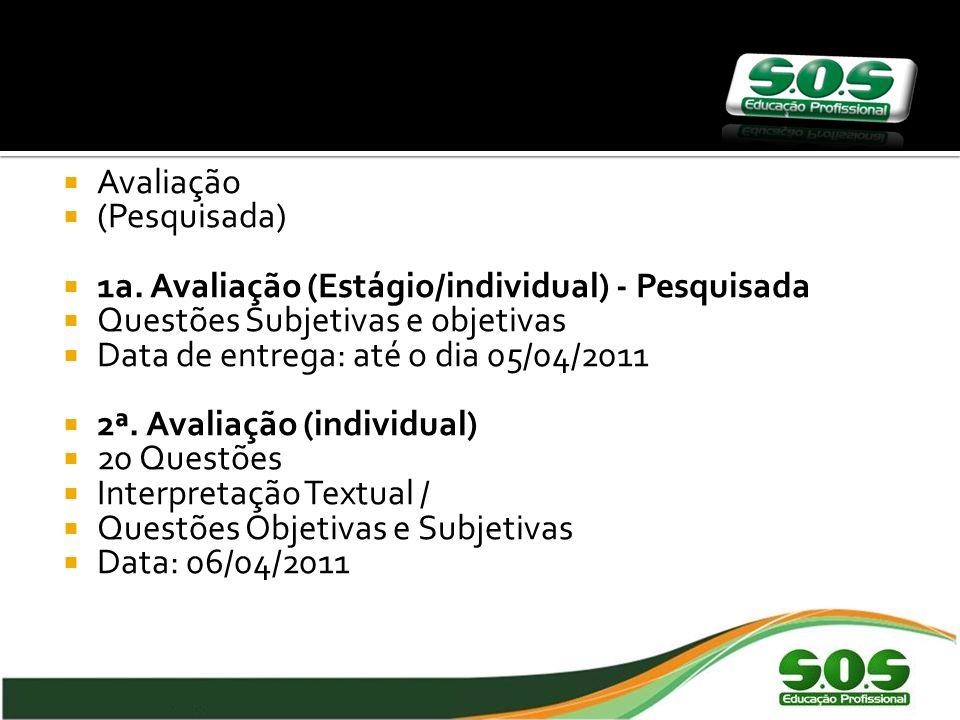 Avaliação (Pesquisada) 1a. Avaliação (Estágio/individual) - Pesquisada. Questões Subjetivas e objetivas.