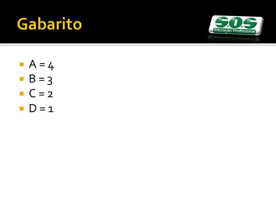 Gabarito A = 4 B = 3 C = 2 D = 1