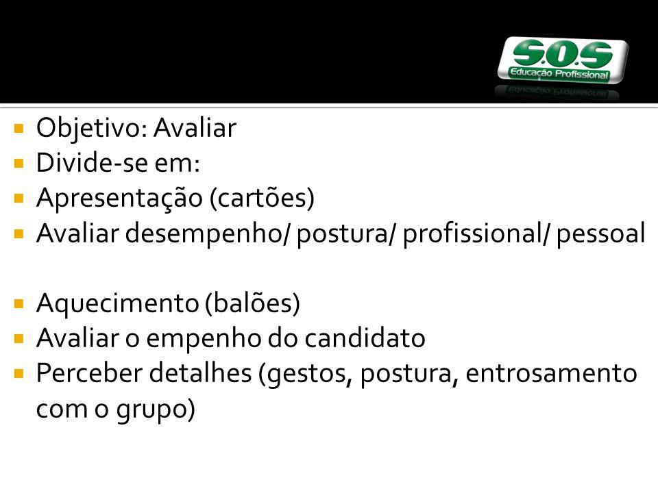 Objetivo: Avaliar Divide-se em: Apresentação (cartões) Avaliar desempenho/ postura/ profissional/ pessoal.