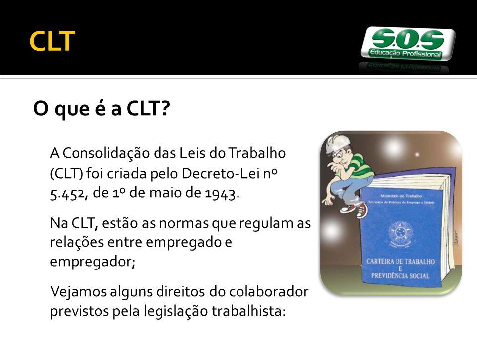 CLT O que é a CLT A Consolidação das Leis do Trabalho (CLT) foi criada pelo Decreto-Lei nº 5.452, de 1º de maio de 1943.