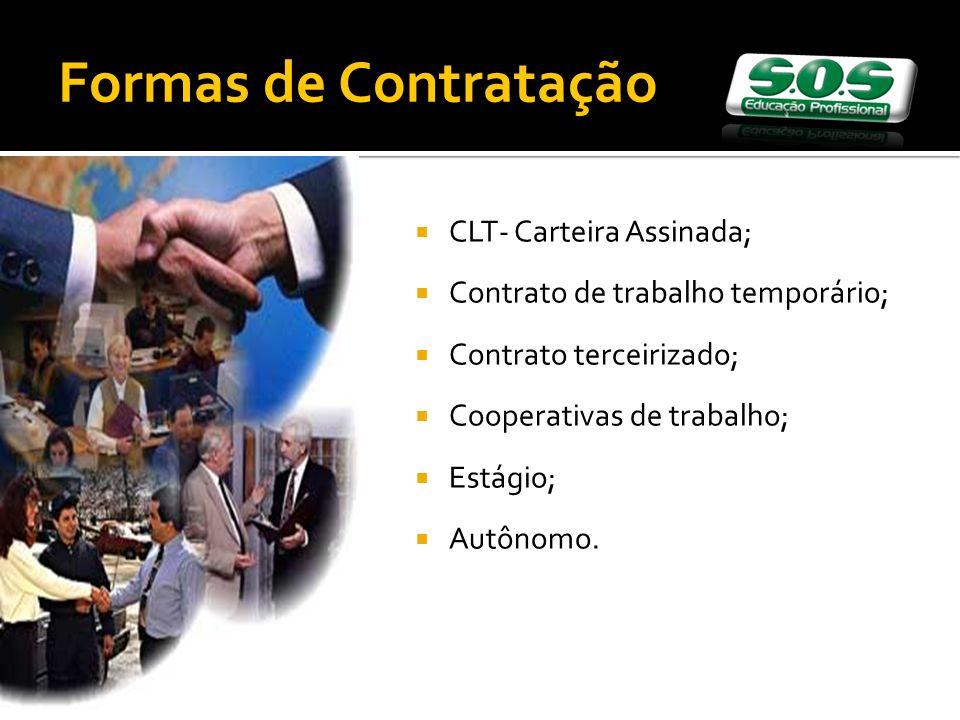 Formas de Contratação CLT- Carteira Assinada;