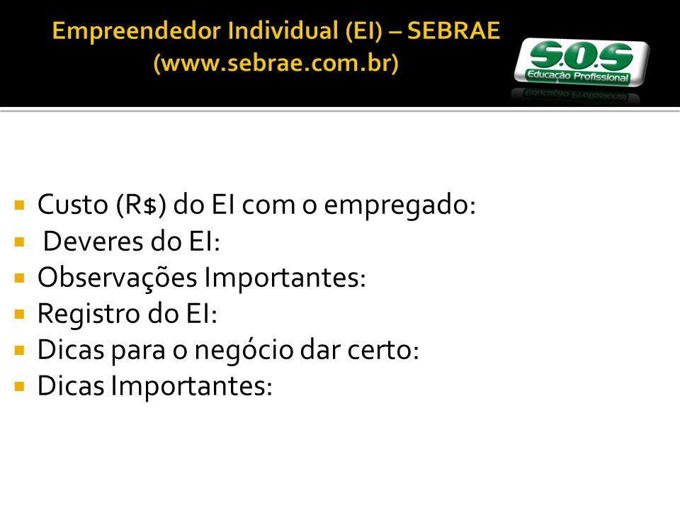 Empreendedor Individual (EI) – SEBRAE (www.sebrae.com.br)