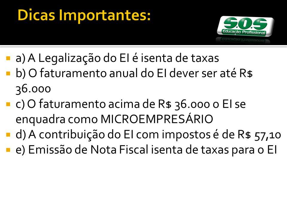 Dicas Importantes: a) A Legalização do EI é isenta de taxas