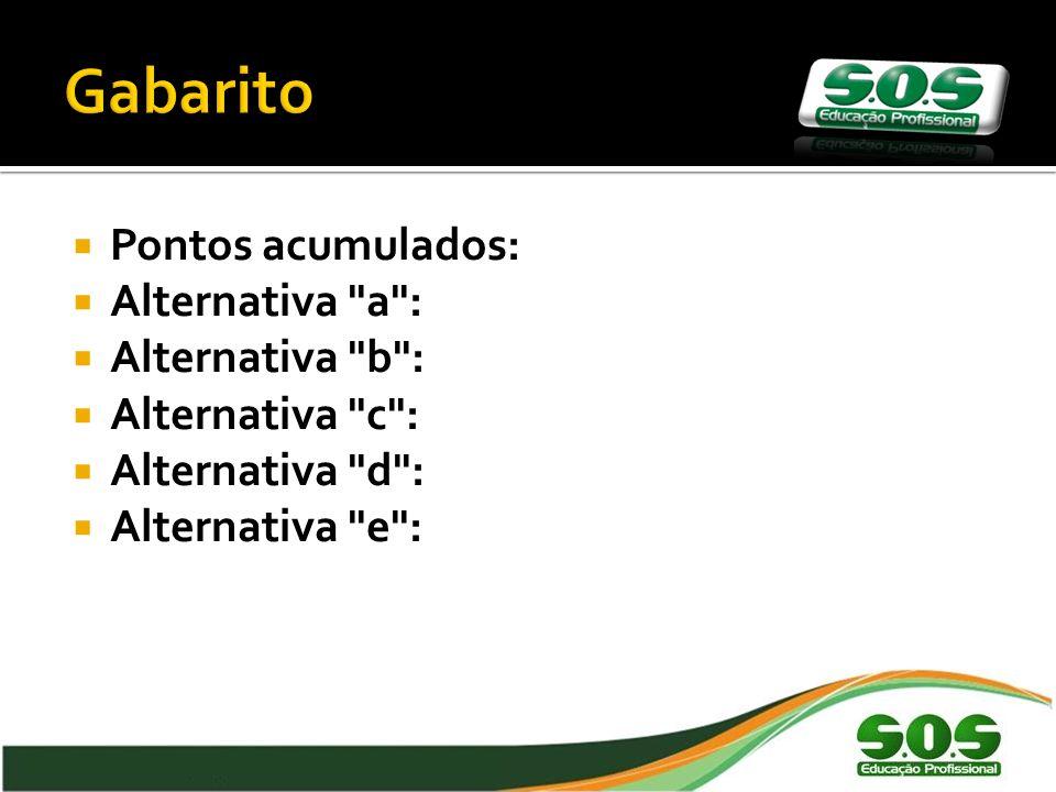 Gabarito Pontos acumulados: Alternativa a : Alternativa b :