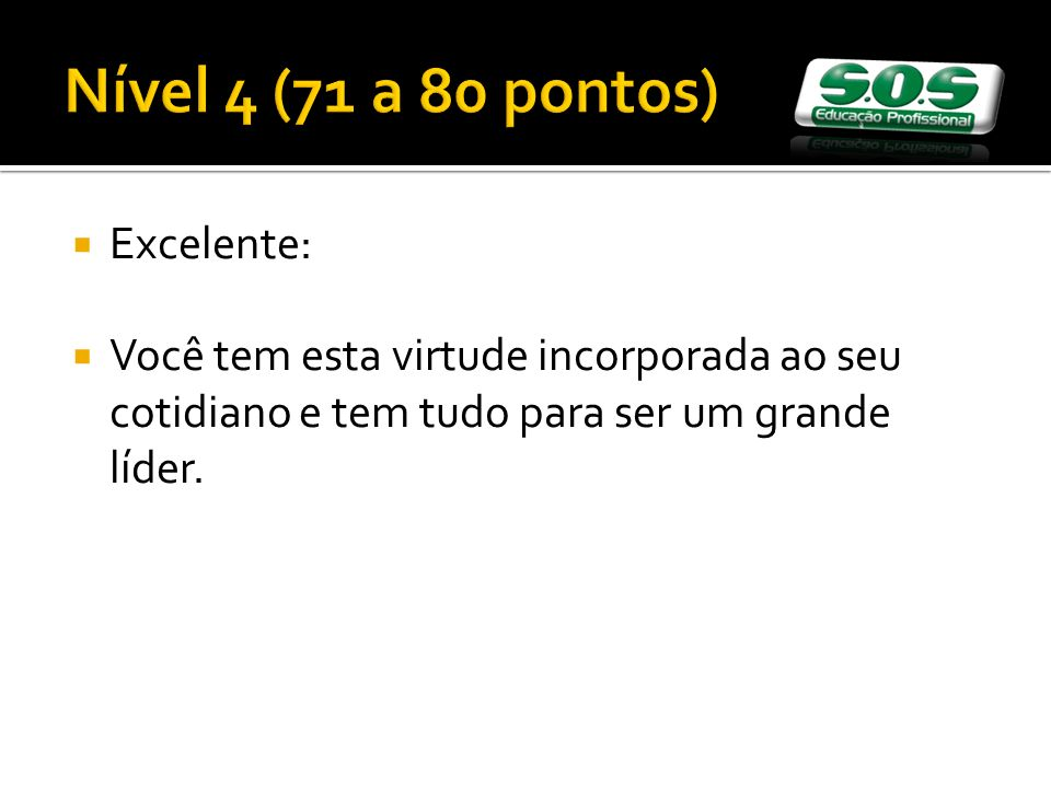 Nível 4 (71 a 80 pontos) Excelente: