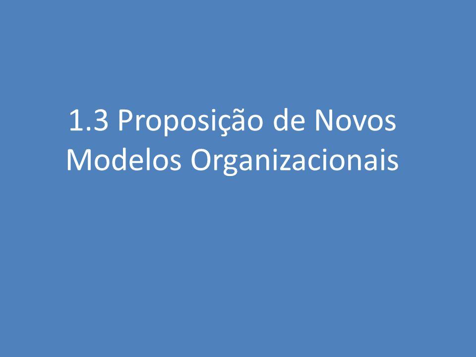 1.3 Proposição de Novos Modelos Organizacionais