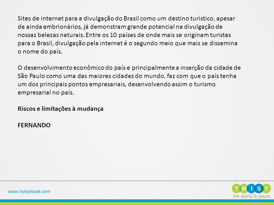 Sites de internet para a divulgação do Brasil como um destino turístico, apesar de ainda embrionários, já demonstram grande potencial na divulgação de nossas belezas naturais. Entre os 10 países de onde mais se originam turistas para o Brasil, divulgação pela internet é o segundo meio que mais se dissemina o nome do país.