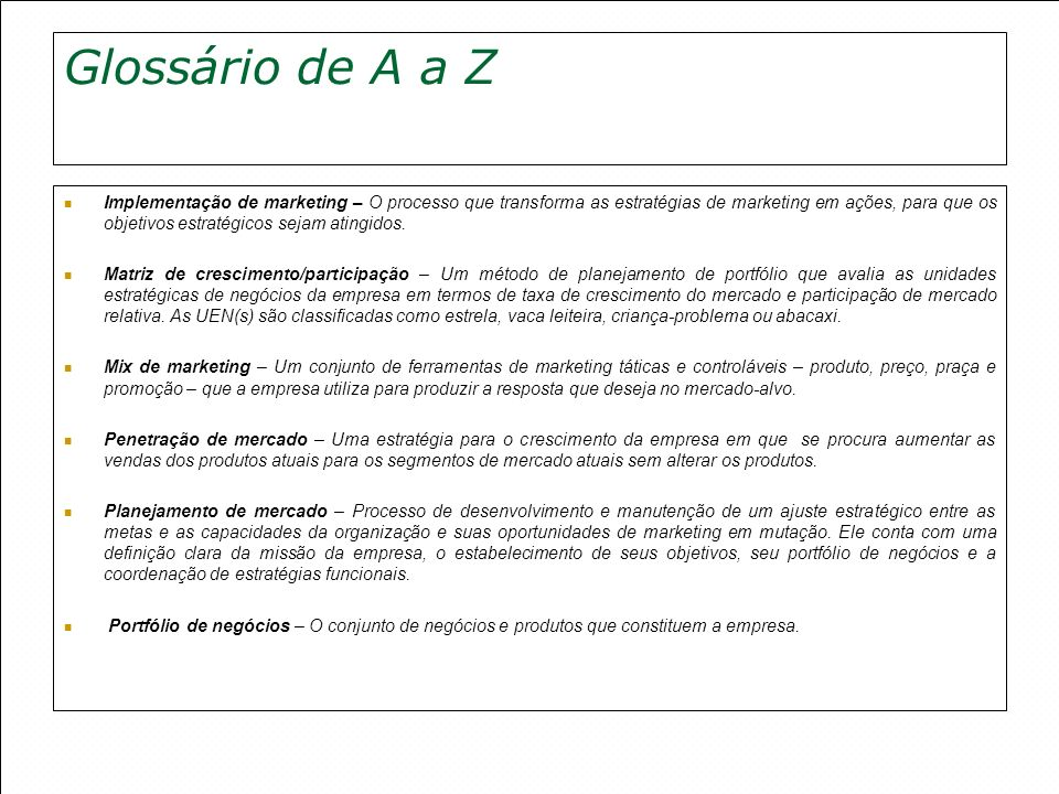 Glossário de A a Z